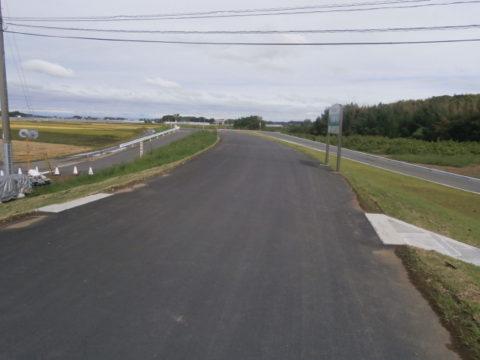小貝川の工事完了の堤防